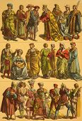 16th Century Netherlands Costumes. Engraved by Fr.Hottenroth and published in Trachten, Haus, Feld u