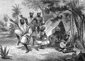 A dance in Tripoli, Libya. Engraved by anonymous engraver and published in All Round the World, Unit