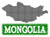 Dotted Map Of Mongolia And Rubber Caption. Vector Green Title Inside Rounded Rectangle And Corroded  poster