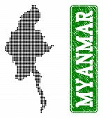 Dotted Map Of Myanmar And Scratched Caption. Vector Green Title Inside Rounded Rectangle And Scratch poster