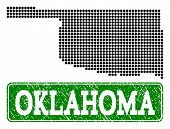 Dotted Map Of Oklahoma State And Unclean Caption. Vector Green Title Inside Rounded Rectangle And Un poster