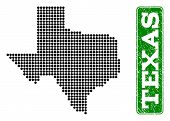 Dotted Map Of Texas State And Corroded Caption. Vector Green Title Inside Rounded Rectangle And Corr poster