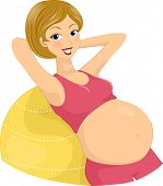 Illustration of a Pregnant Woman Exercising Using an Aerobics Ball