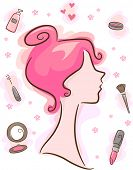 Illustration Featuring Make-up and Cosmetics Related Elements