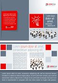 Red and gray template for advertising brochure with business people