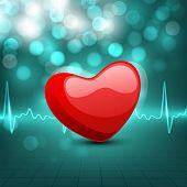 Cardiograma con forma de corazón rojo sobre fondo verde. EPS 10.