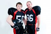 Two Young American Football Players