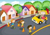 illustration of a kids crossing on road