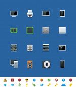 Vector common website icons. Hardware