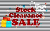 illustration of stock clearance sale painted on shutter