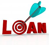 The word Loan in red letters with an arrow hitting the target bullseye in place of the letter O, sym