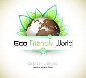 Ecology green background for eco friendly covers or brochures, with colorful leaves and water drops