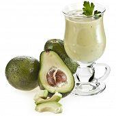Avocado smoothie isolated on white background