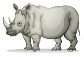 illustration of a Rhinoceros on a white background