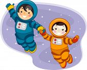 Illustration of Kids Dressed in Spacesuits and Floating in Outer Space