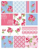 foto of decoupage  - Pretty Shabby Chic Floral Vector Seamless Patterns and Icons - JPG