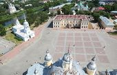 People on Kremlin square with Alexander Nevsky church, Belfry Sophia cathedral, Holy Resurrection cathedral in Vologda, Russia, view from above