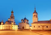 Kremlin square in morning with  Belfry Sophia Cathedral, Holy Resurrection Cathedral in Vologda, Rus