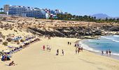 FUERTEVENTURA, SPAIN - JUNE 22: Esmeralda Beach on June 22, 2012 in Fuerteventura, Canary Islands, S