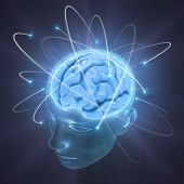 stock photo of clairvoyance  - Electrons revolve around the brain - JPG