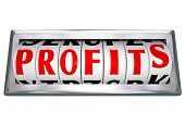 The word Profits on an odometer wheel to represent growing revenue and making more money with more s