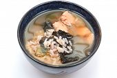 Bowl of organic iodine enriched gluten free seaweed and albacore gumbo.