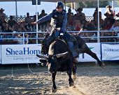 SAN JUAN CAPISTRANO, CA - AUGUST 25: unidentifiedcowboy competes in the bull riding event at the PRCA Rancho Mission Viejo rodeo in San Juan Capistrano, CA on August 25, 2012.