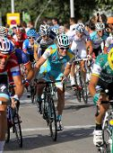 BARCELONA - AUG, 26: Astana Belgian cyclist Kevin Seeldraeyers rides with the pack during the Vuelta
