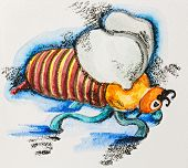 Funny stylized fat striped bee, watercolor with slate-pencil painting