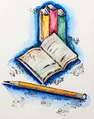 Education school concept with books and pencil, watercolor with slate-pencil painting