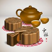 Moon Cake and Tea Set of Mid Autumn Festival