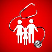 Abstract heath care background with white silhouette of a family under stethoscope. EPS 10. ,