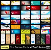 Mega collection of 52 professional and designer business cards or visiting cards on different topic, arrange in horizontal and vertical. EPS 10.