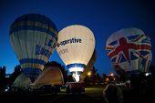NORTHAMPTON, ENGLAND - AUGUST 18: Hot Air Balloons demonstrating night time glows at the Northampton