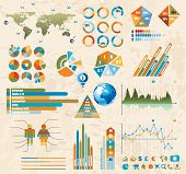 Premium Retro infographics master collection: graphs, histograms, arrows, chart, 3D globe, icons and