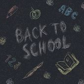 Back to school. Written by chalk on the asphalt background. Vector, EPS10