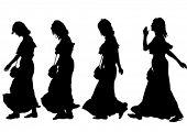 Meninas magro e bonitas de desenho vetorial