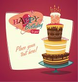 stock photo of fancy cake  - Retro vintage happy birthday card with cake - JPG