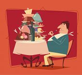image of greedy  - Fat man eating in a restaurant - JPG