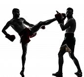 image of muay thai  - two caucasian  men exercising thai boxing in silhouette studio  on white background - JPG