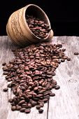 stock photo of coffee grounds  - Closeup of coffee beans - JPG