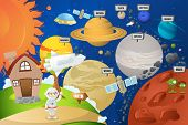 stock photo of earth mars jupiter saturn uranus  - A vector illustration of astronaut and planet system - JPG