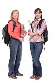 pic of bagpack  - photo of casual students isolated over white background - JPG