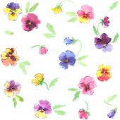 Watercolor seamless colorful pansies flowers pattern