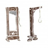 stock photo of guillotine  - retro cartoon guillotine and hangman - JPG
