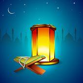 stock photo of islamic religious holy book  - Illuminated lamp and islamic religious holy book Quran Shareef in shiny moonlight night background - JPG