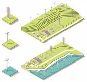 stock photo of power transmission lines  - Isometric wind farm - JPG