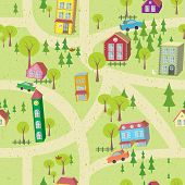 Cartoon Map Seamless Pattern With Houses And Roads