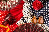 picture of castanets  - Espana typical from Spain with castanets rose fan and flamenco comb and dress - JPG