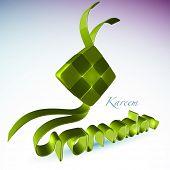 3D Muslim Ketupat for Ramadan. Translation: Ramadan Kareen - May Generosity Bless You During The Holy Month